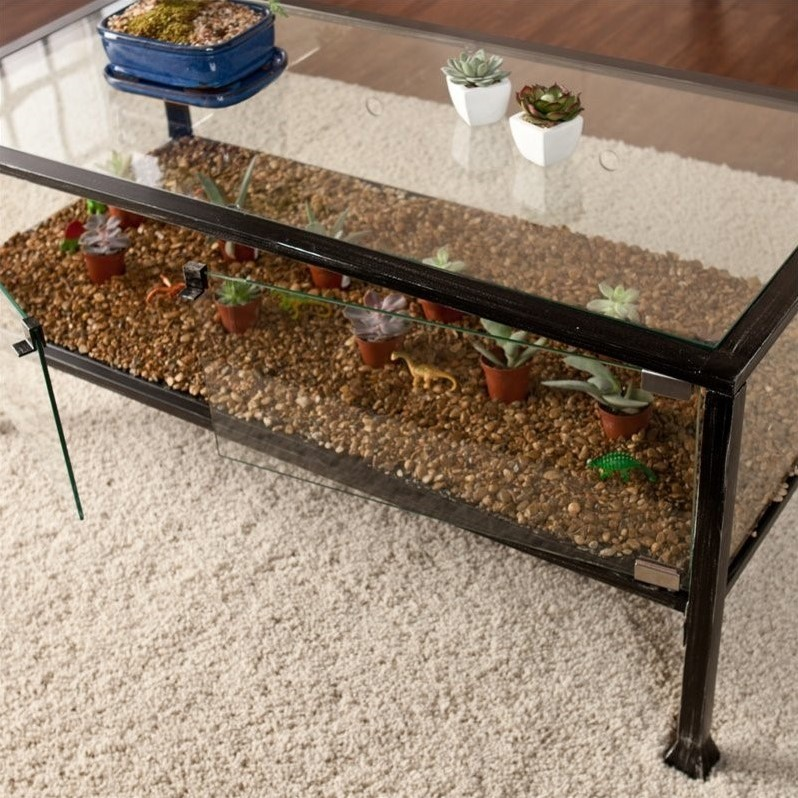 Southern Enterprises Terrarium Glass Display Coffee Table In Black