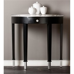 Southern Enterprises Starling Mirrored Demilune Accent Table in Black