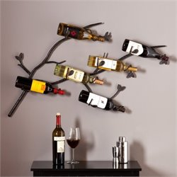 Southern Enterprises Brisbane Wall Mount Wine Rack in Wrought Iron