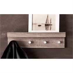 Southern Enterprises Argo Wall Mount Shelf and Coat Rack in Dark Oak