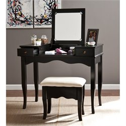 Southern Enterprises Francesca Vanity with Mirror and Bench in Black