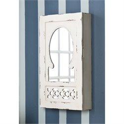 Southern Enterprises Wall Mount Jewelry Armoire in Antique White