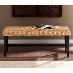 Southern Enterprises Water Hyacinth Bench in Black and Natural