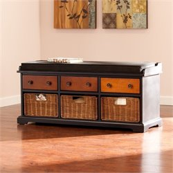 Southern Enterprises Larimore Storage Bench in Black and Wood