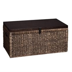 Southern Enterprises Water Hyacinth Trunk Coffee Table in Blackwash