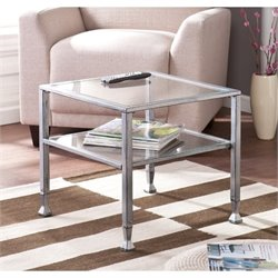 Southern Enterprises Metal-Glass Coffee Table in Silver and Black