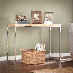 Southern Enterprises Scanlyn Faux Stone Console Table in Tan