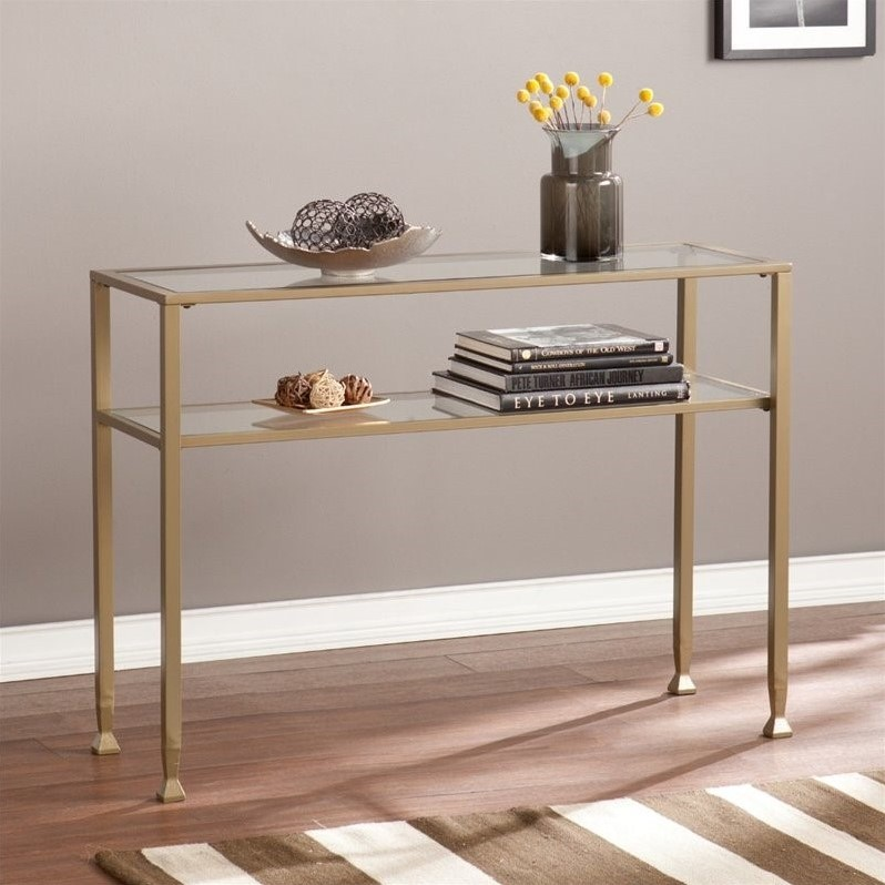 Southern Enterprises Metal Glass Console Table In Matte