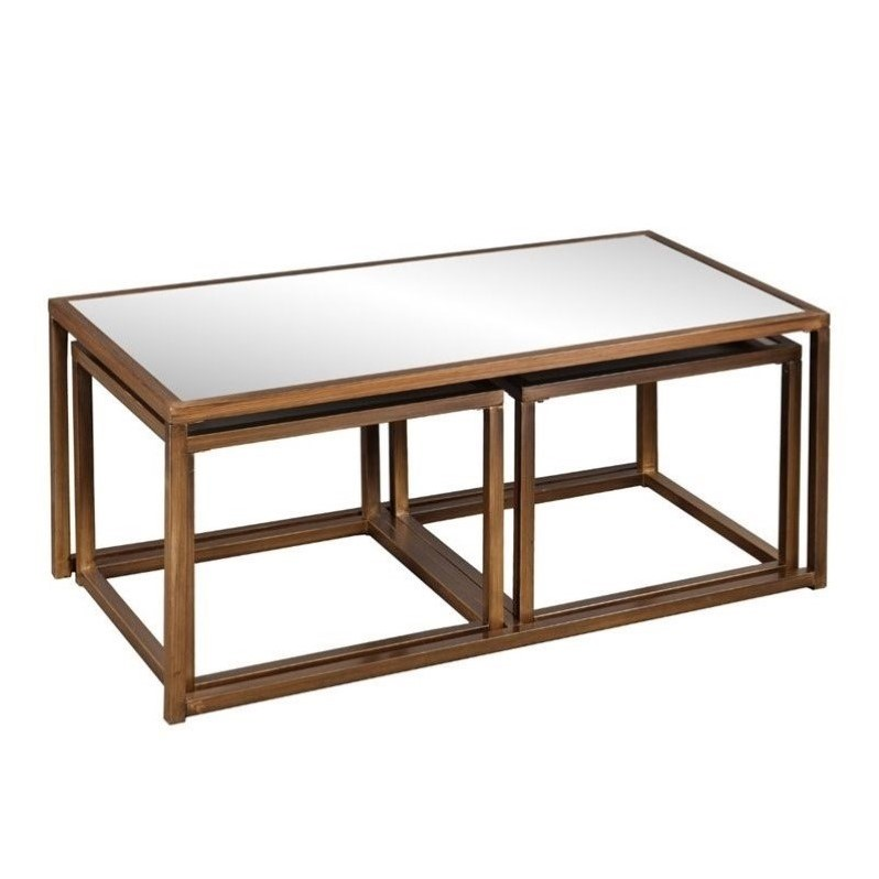 Southern Enterprises Piece Nested Coffee And End Table In Bronze - 3 piece nesting coffee table