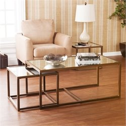 Southern Enterprises 3 Piece Nested Coffee and End Table in Bronze