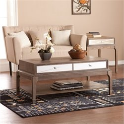 Southern Enterprises Arnold Coffee Table with Drawer in Burnt Oak