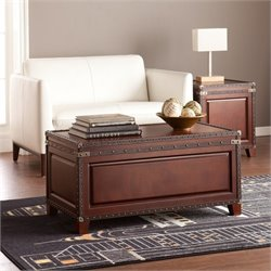 Southern Enterprises Amherst Trunk Coffee Table in Dark Cherry