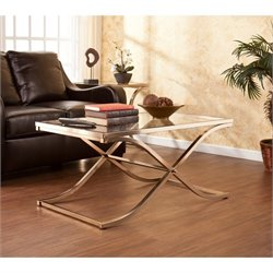 Southern Enterprises Vogue Glass Coffee Table in Champagne Brass