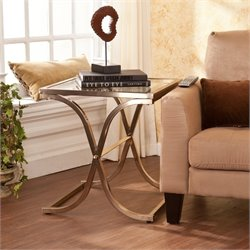 Southern Enterprises Vogue Glass End Table in Champagne Brass