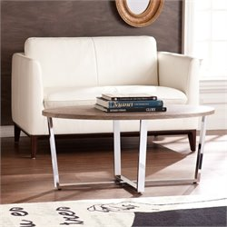 Southern Enterprises Elements Oval Coffee Table in Sunbleached Gray