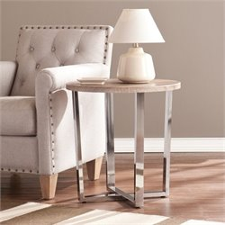 Southern Enterprises Elements Round End Table in Sunbleached Gray