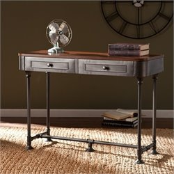 Southern Enterprises Edison Console Table in Dark Tobacco and Gray