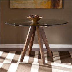 Southern Enterprises Zina Round Glass Top Dining Table in Burnt Oak