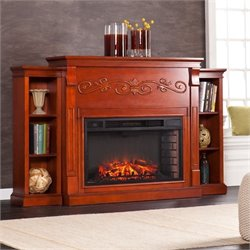 Southern Enterprises Locksley Bookcase Electric Fireplace in Mahogany