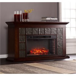 Southern Enterprises Newberg Electric Fireplace in Warm Brown Walnut