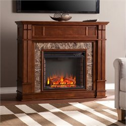 Southern Enterprises Highgate Faux Stone Fireplace TV Stand in Maple