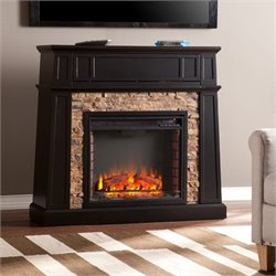 Southern Enterprises Crestwick Faux Stone Fireplace TV Stand in Black