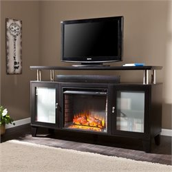 Southern Enterprises Cabrini Fireplace TV Stand in Black