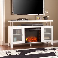 Southern Enterprises Cabrini Fireplace TV Stand in White