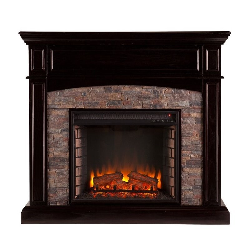 Southern Enterprises Grantham Electric Media Fireplace In Ebony Fe9359