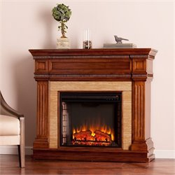 Southern Enterprises Faircrest Faux Stone Electric Fireplace in Oak