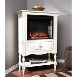 Southern Enterprises Providence Fireplace Tower in Antique White