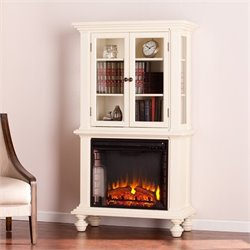 Southern Enterprises Townsend Electric Fireplace Bookcase in White