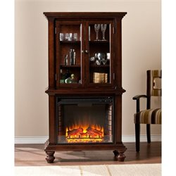 Southern Enterprises Townsend China Cabinet with Fireplace in Espresso