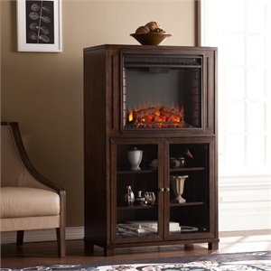 Allman Electric Fireplace Curio Tower in Espresso