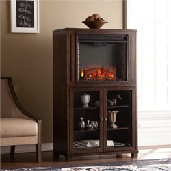 Southern Enterprises Allman Electric Fireplace Tower in Espresso