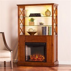 Southern Enterprises Gentry Curio with Electric Fireplace in Oak