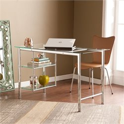 Southern Enterprises Oslo Glass Desk in Chrome