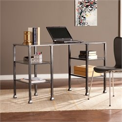 Southern Enterprises Metal-Glass Desk in Black and Silver