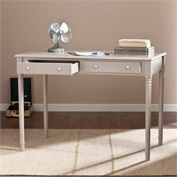 Southern Enterprises Janice 2-Drawer Writing Desk in Gray