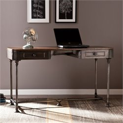 Southern Enterprises Edison Industrial 2-Drawer Desk in Gray