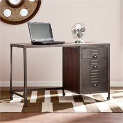 Southern Enterprises Radcliff Wood and Metal File Desk in Gray