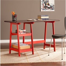 Southern Enterprises Langston Desk in Red and Espresso