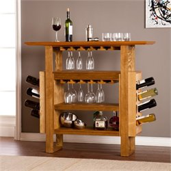 Southern Enterprises Britton Console Wine Rack in Weathered Oak