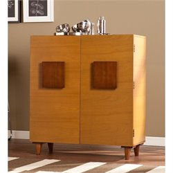 Southern Enterprises Boyle Anywhere Bar Cabinet in Oak and Espresso