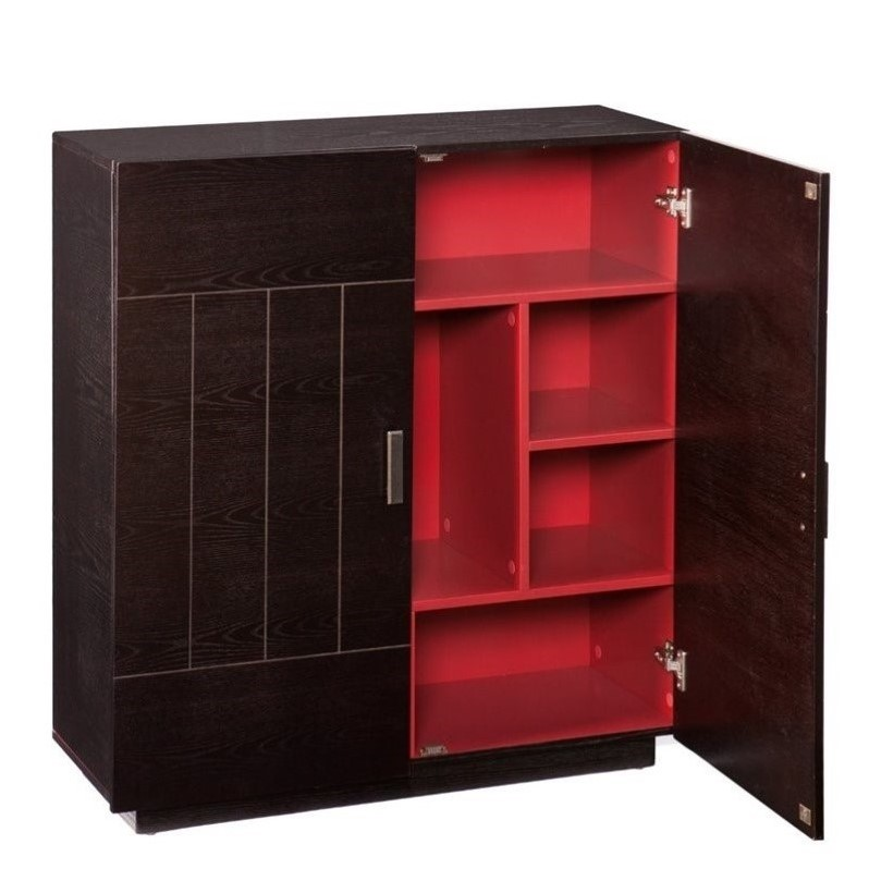 southern enterprises marc home bar cabinet in ebony and red hz1047 rh cymax com pottery barn red bar cabinet red barrel studio radius cabinet