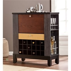 Southern Enterprises Warren Home Wine and Bar Cabinet in Black