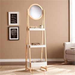 Southern Enterprises Lynnhaven Storage Shelf with Mirror in Oak