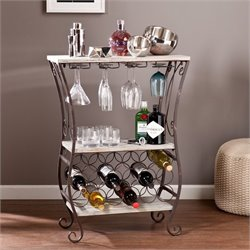 Southern Enterprises Arcino Wine Storage Table in Gray and Rust