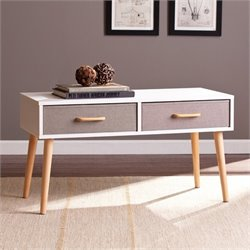Southern Enterprises Maydell 2-Drawer Storage Coffee Table in White