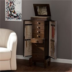 Southern Enterprises Brogan Jewelry Armoire in Gray-Brown Oak